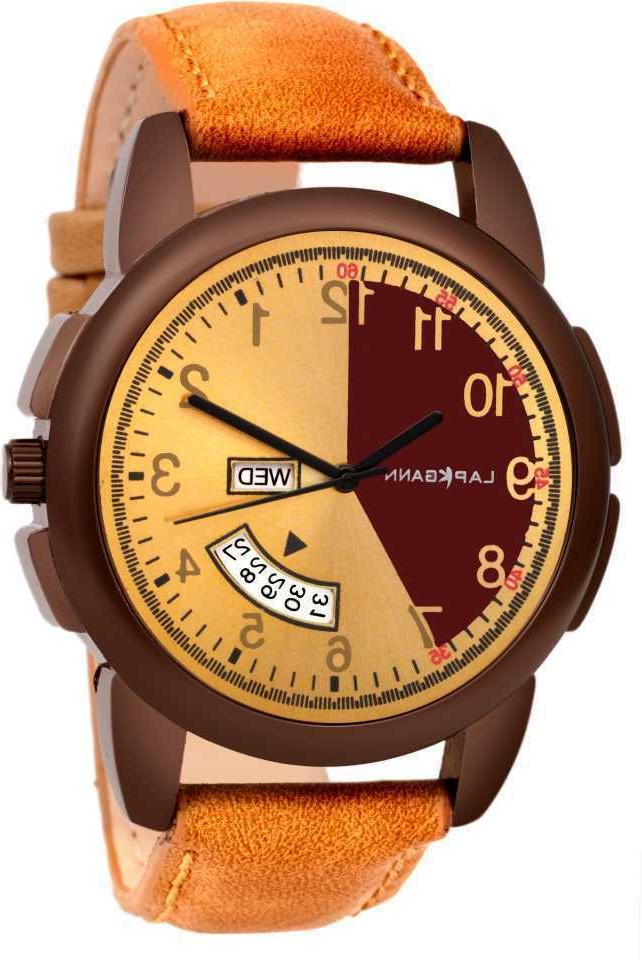 leather mask day date smart analog watch