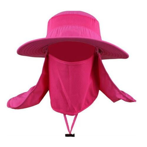 Men Bucket Hat Neck Flap Anti Sun Wide Summer Fishing