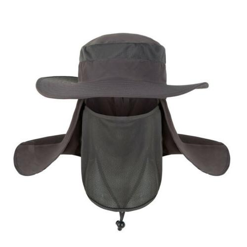 Men Unisex Neck Flap Anti Sun Wide Brim Summer Fishing