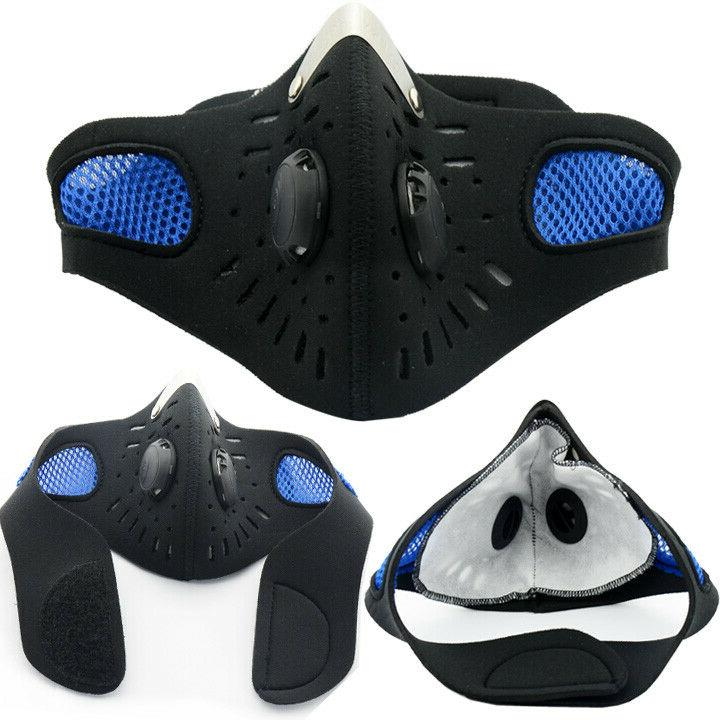 blue outdoor activated carbon riding face mask