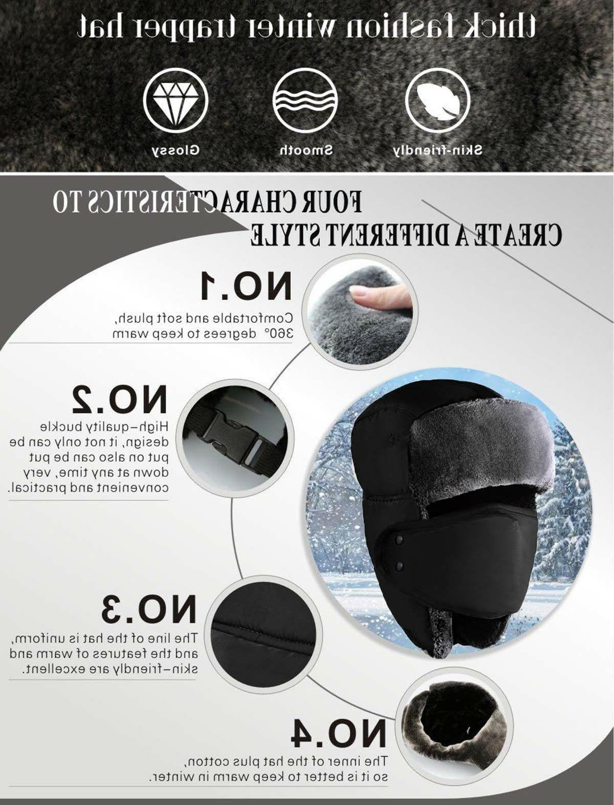 New Mens Warm Russian Ski Ushanka Waterproof Warm Unisex