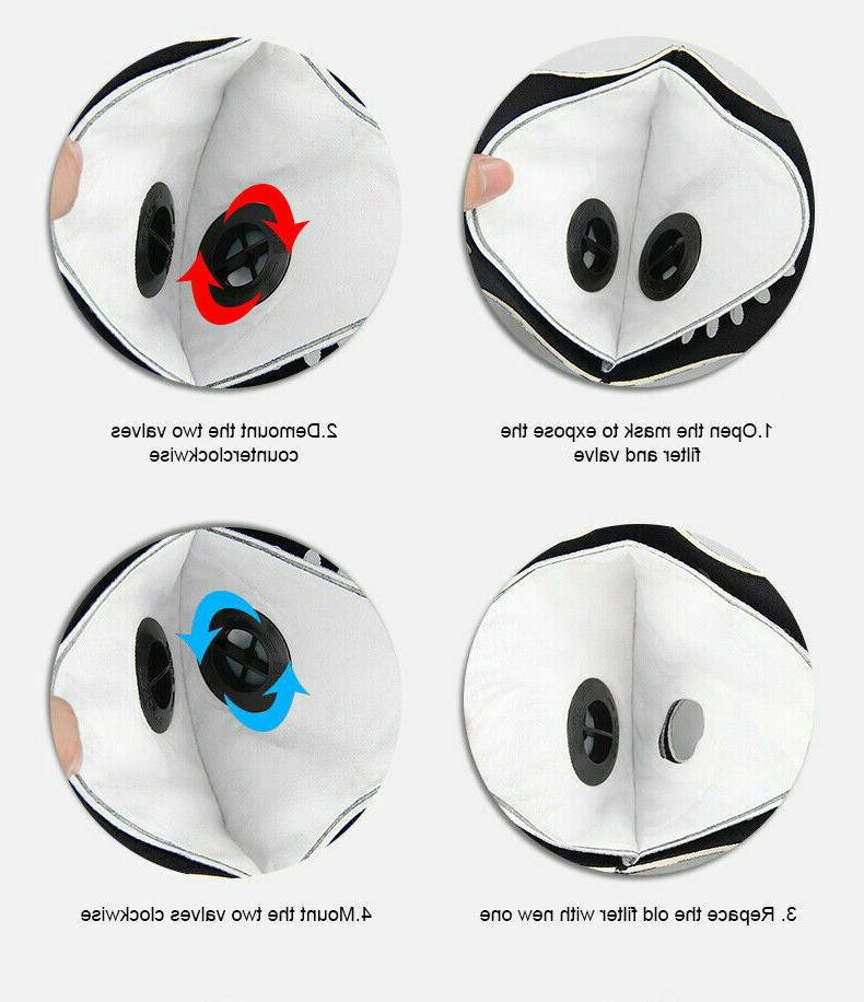 Outdoor Cycling Sport Mask carbon Filter valves