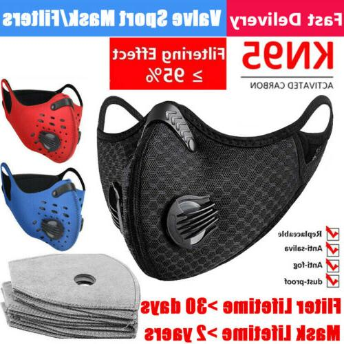 Reusable Sports Face Mask W/ Double Valve Activated Carbon F