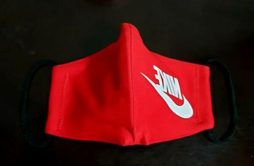 Red Nike Face Mask Fabric Washable, Made USA
