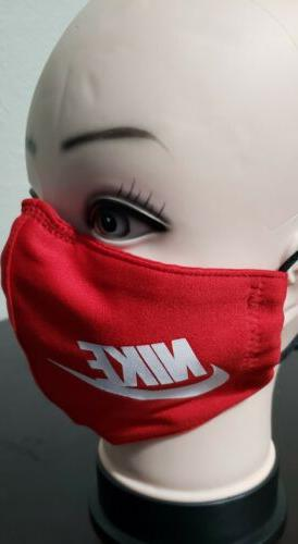 Red Face Mask Fabric Washable, Handmade Made
