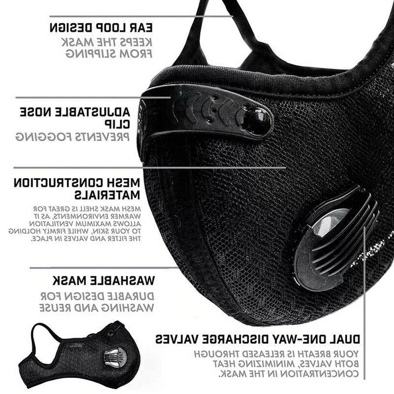 Reusable Face Mask +1 Carbon Filter + 2 Exhalation Black