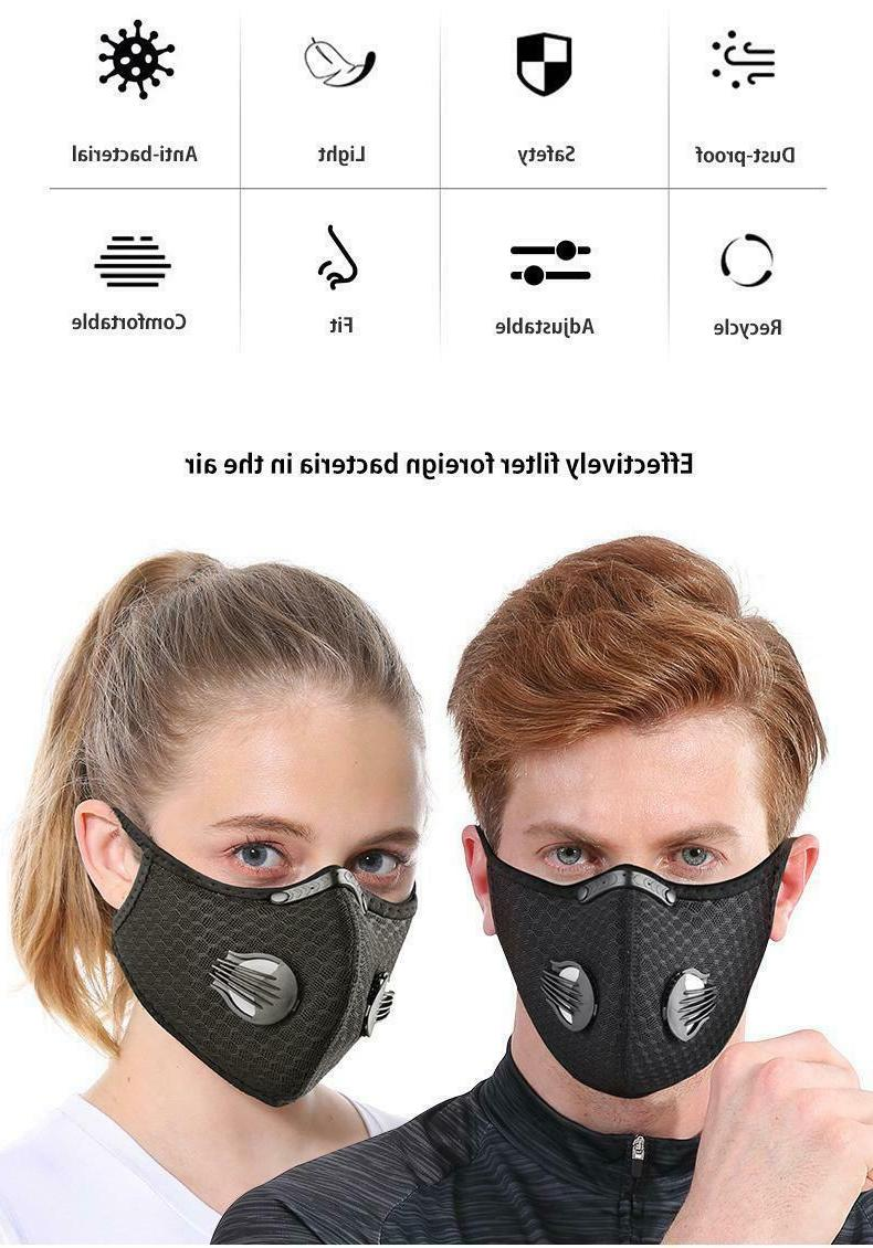 Reusable Face Mask Breathing Valves Active Carbon Filter
