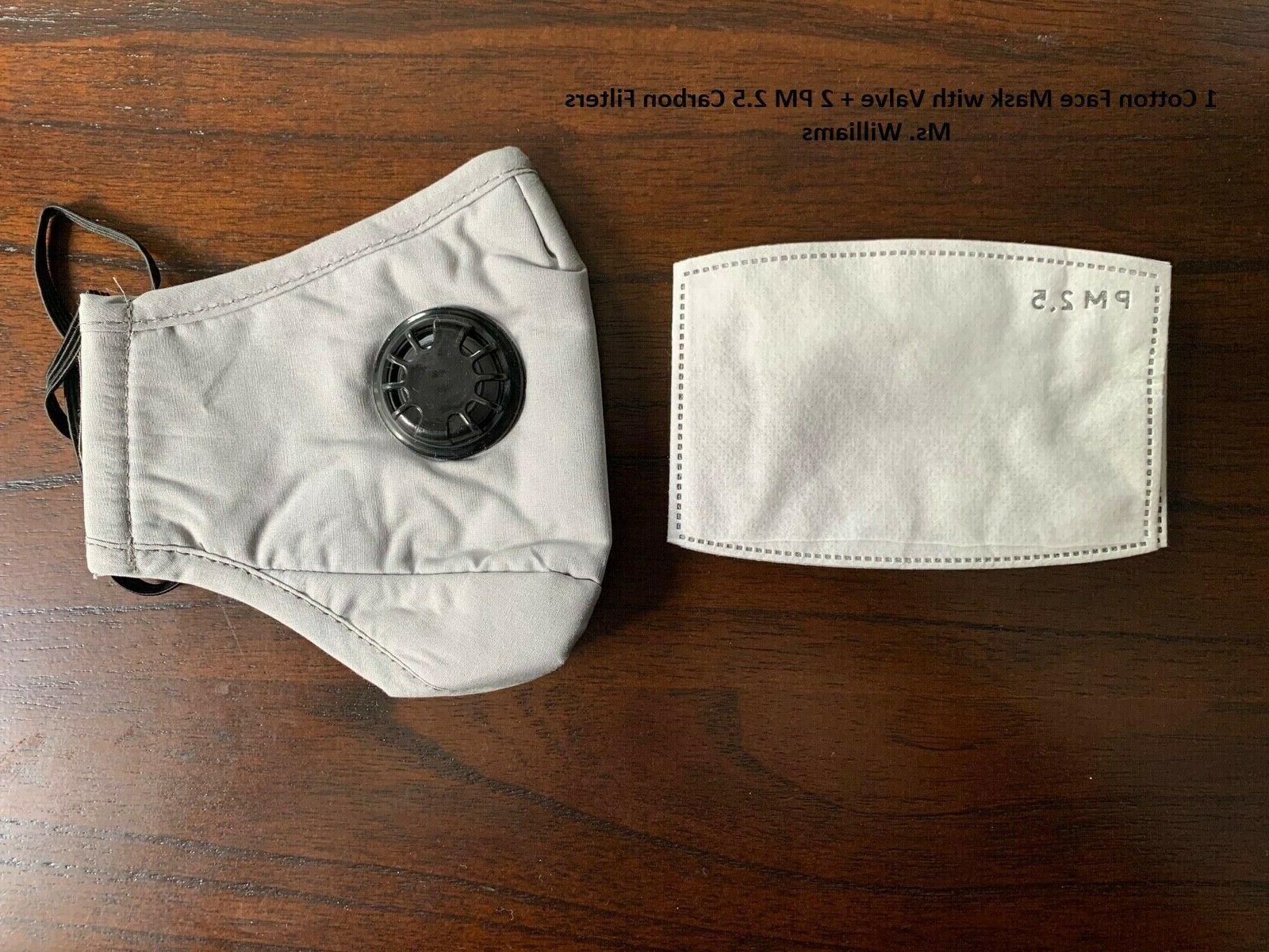 Reusable Washable Mask Valve + PM2.5 Carbon Filter Blue