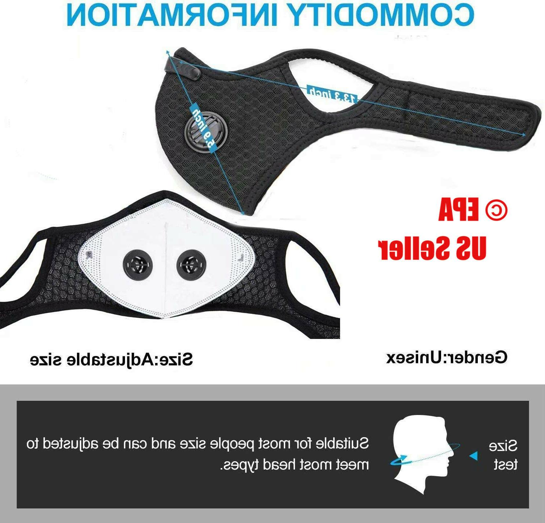 Running Sport Face Mask Filter Carbon