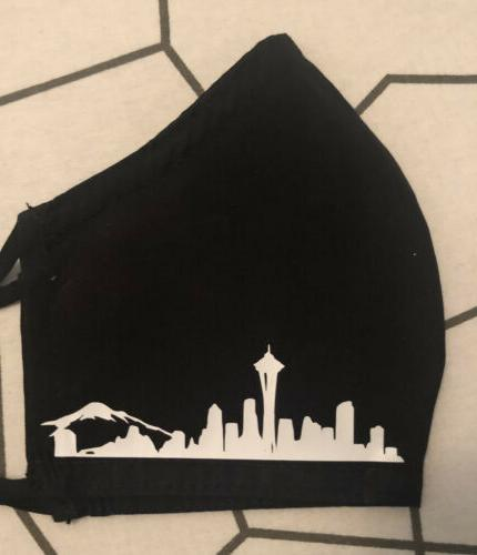 Seattle Seahawks Skyline Black Mask - Handmade -