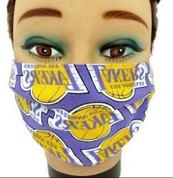LA Lakers NBA Basketball Face Mask 100% Cotton Filter Pocket