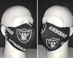 Las Vegas Raiders Face Mask - 100% Cotton - Washable/Reusabl