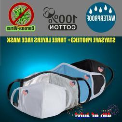 Logo US HEART 3 PC - 100% Cotton Cloth Face Mask Reusable Wa