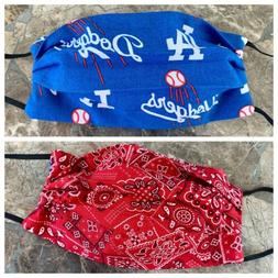 LOS ANGELES DODGERS BASEBALL Face Mask HANDMADE WASHABLE REV