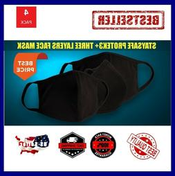 Lot BLUE 10 Pack - StaySafe Three Layer Cloth Face Mask Reus