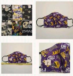 Lousiana SAINTS FACE MASK New Orleans Mardi Gras LSU Face Ma