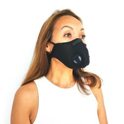 Mesh black sports mask with replaceable activated carbon fil