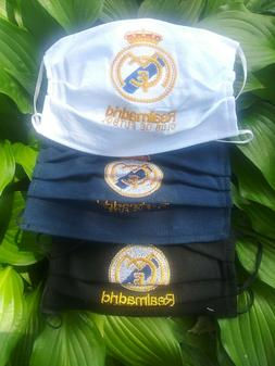 Mexico Artisan Crafted REAL MADRID Embroidered Face Mask 3 s