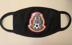 """""""Mexico Soccer Team"""" Logo Patch on Black Face Mask w/ Fi"""
