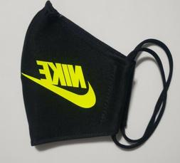 Neon Yellow Nike Face Mask Fabric Washable, Reusable Handmad