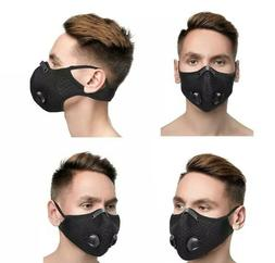 NEW! Black Face Mask Sports with Breathing valve Reusable an