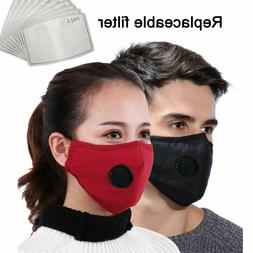 NEW Face Mask with Breathing Valve & 3 FREE Filter Washable/