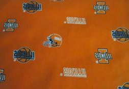 NEW YD University of ILLINOIS Sports 100% Cotton Fabric For