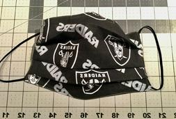 NFL LAS VEGAS RAIDERS Black Fabric Face Mask 100% Cotton Was