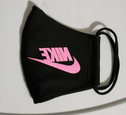 Nike Glitter  Pink. Face   Mask Fabric Washable, Reusable Ha