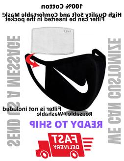 Nike W- BLK Face Mask with filter pocket Reusable Unisex Sof