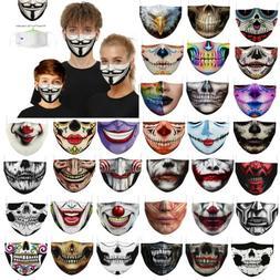 Novelty Joker Print Reusable Cloth Face Mask Washable Fabric