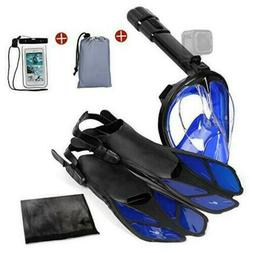 Odoland 5-in-1 Snorkeling Packages, Full Face Snorkel Mask w