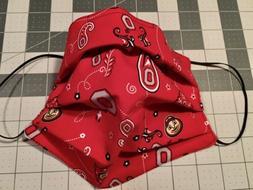 OHIO STATE BUCKEYES OSU Face Mask Paisley Cotton Washable Re