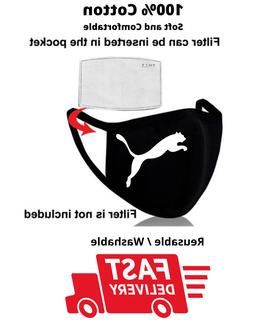Puma - BLK Face Mask with filter pocket Reusable Unisex Soft
