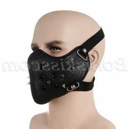 Punk Black PU Leather Rivet Half Face Mask Outdoors Motorcyc