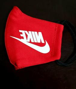Red Nike Face   Mask Fabric Washable, Reusable Handmade Made
