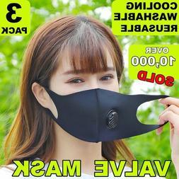 Valve Face Mask / Fashion Black Mask / WASHABLE REUSABLE /
