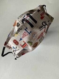 Handmade Reusable Cotton Fabric Baseball Theme Washable Face