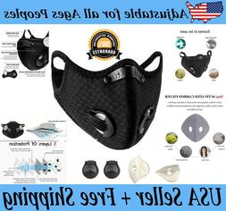 Reusable Cycling Face Mask +1 Activated Carbon Filter + 2 Ex