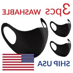 REUSABLE FACE MASK, WASHABLE, BLACK, BREATHABLE UNISEX STRET