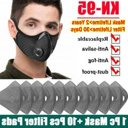 Reusable Face Mask With Activated Carbon Filter Pads Breathi