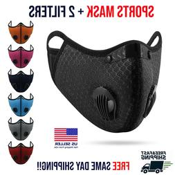 Reusable Face Mask With Carbon Filter Breathing Valves Sport