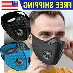 Reusable Sport Face Mask Breathing Valves Replaceable Filter