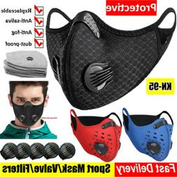Reusable Sports Face Mask W/ Double Valve Activated Carbon P