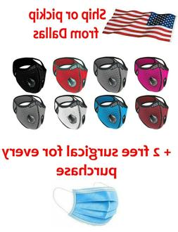 Reusable Style Cycling Sports Face Mask Breathing Valves W/