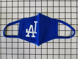 Royal Blue 100% Cotton Face Mask White LA Dodgers
