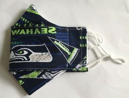 Seattle Seahawks 100% Cotton Fabric Face Mask FREE SHIPPING