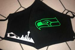 seattle seahawks and skyline black filter mask