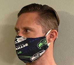Seattle Seahawks, face mask with filter pocket, nose piece,