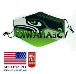 SEATTLE SEAHAWKS NFL Face Mask Adjustable 2 FILTERS Inc. Fas